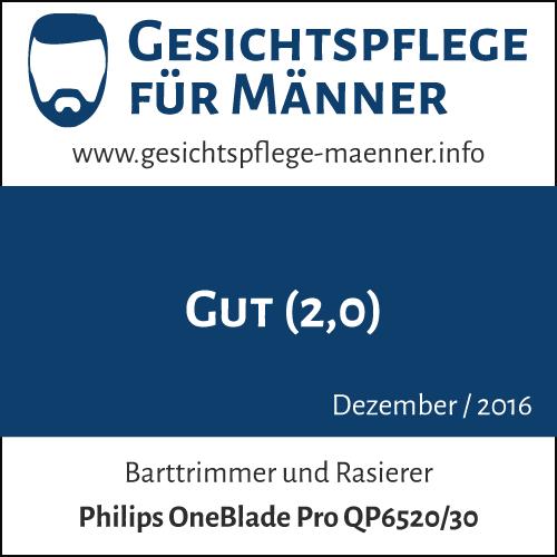 Testsiegel zum Produkt 'Philips OneBlade Pro QP6520/30 Barttrimmer und Rasierer'