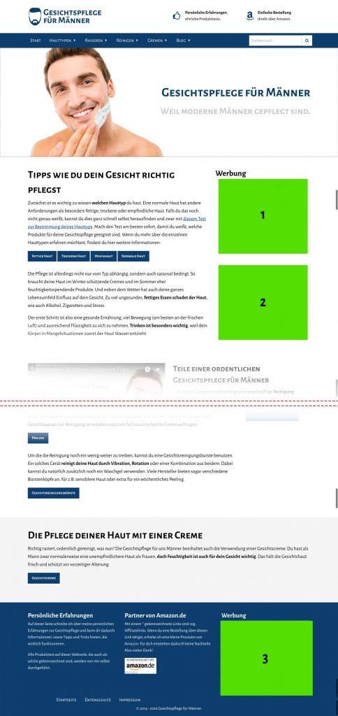 Mögliche Werbeplatzierungen auf Gesichtspflege-Männer.info