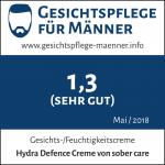 """Das Testsiegel von Gesichtspflege für Männer zum Produkt """"Hydra Defence Creme von sober care"""" mit der Gesamtnote 1,3."""